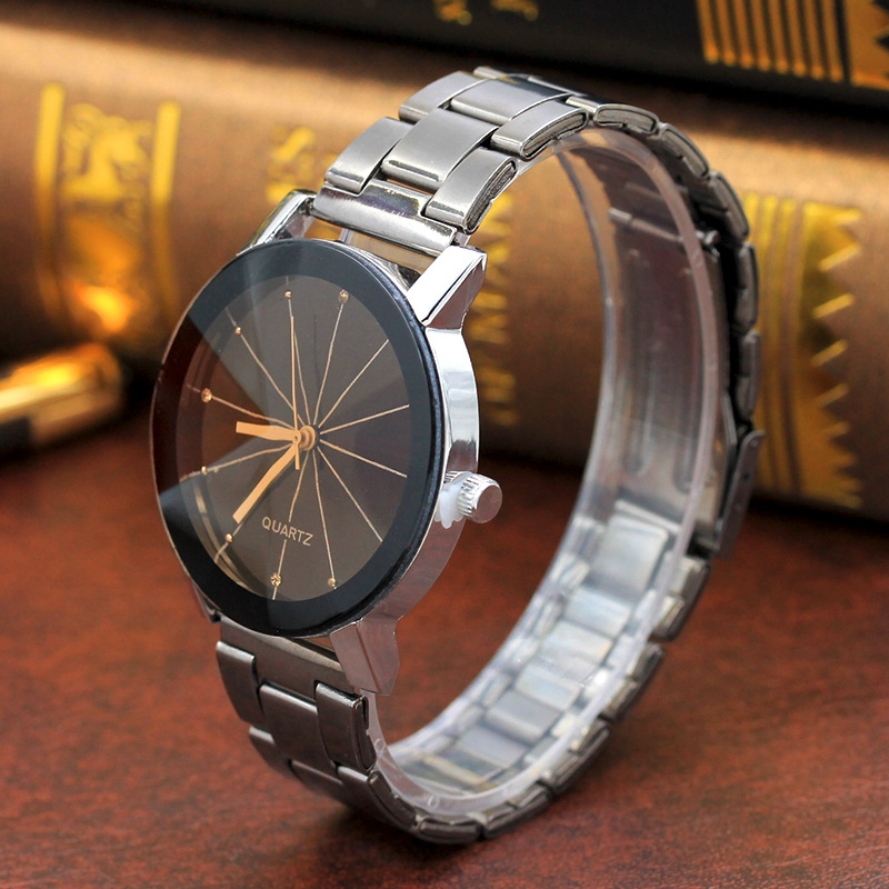 Men And  Women  Ray Steel Band Lovers Watch  Alloy  watch Tan glass Fireworks Quartz  Watch white dial couple(1 male and 1 female) 9