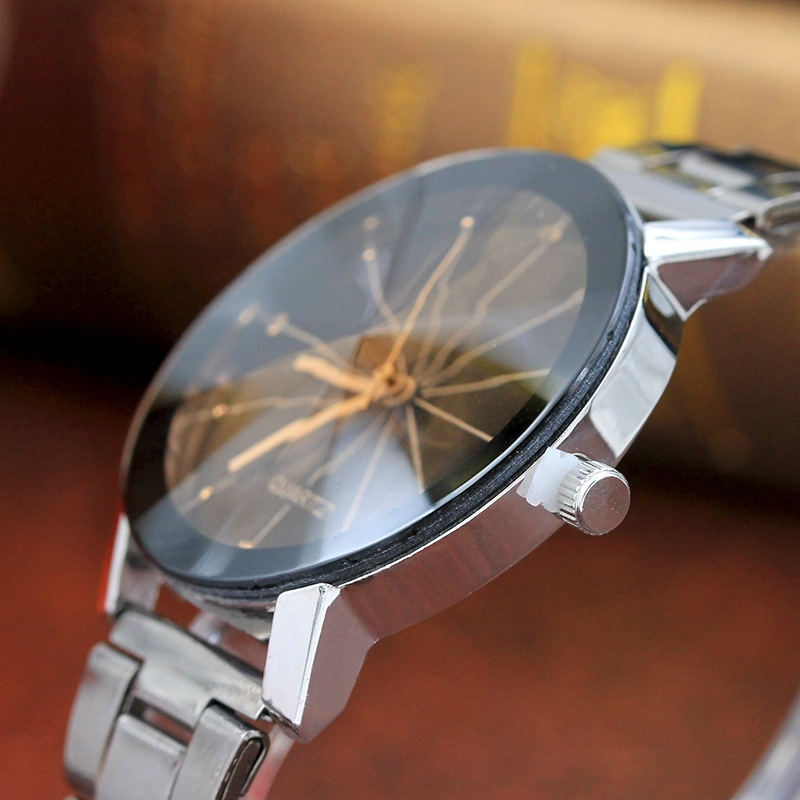 Men And  Women  Ray Steel Band Lovers Watch  Alloy  watch Tan glass Fireworks Quartz  Watch white dial couple(1 male and 1 female) 8