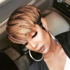 Fast Delivery1-5days Ombre Ladies Short Straight Synthetic Hair Black And Gold Wigs For Women as picture as picture