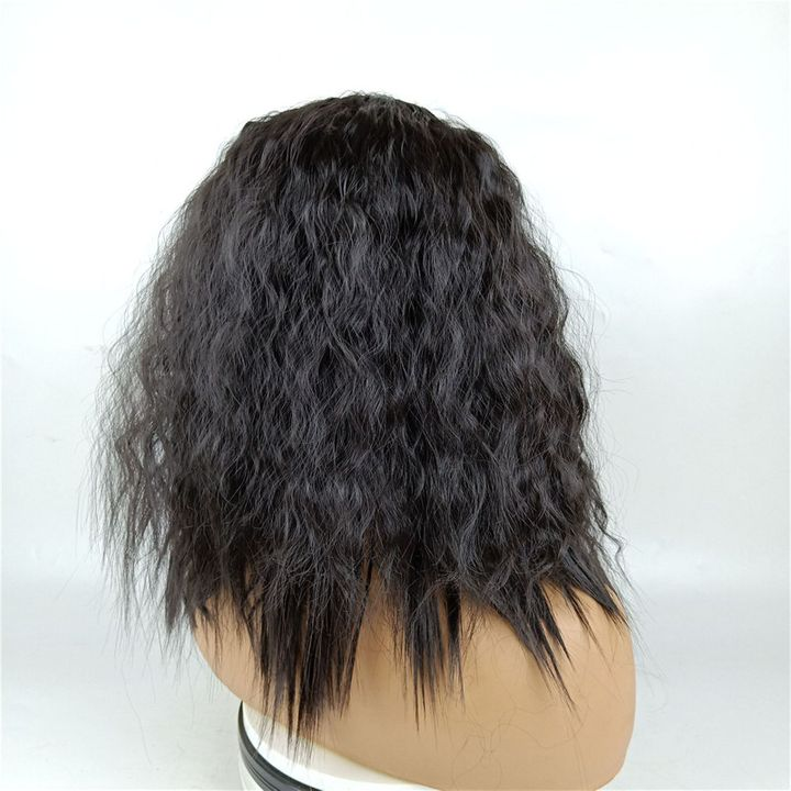 Wig Female Middle Bangs Short Curly  African Natural Synthetic Black Wigs For Ladies Women Weaves black as picture 17