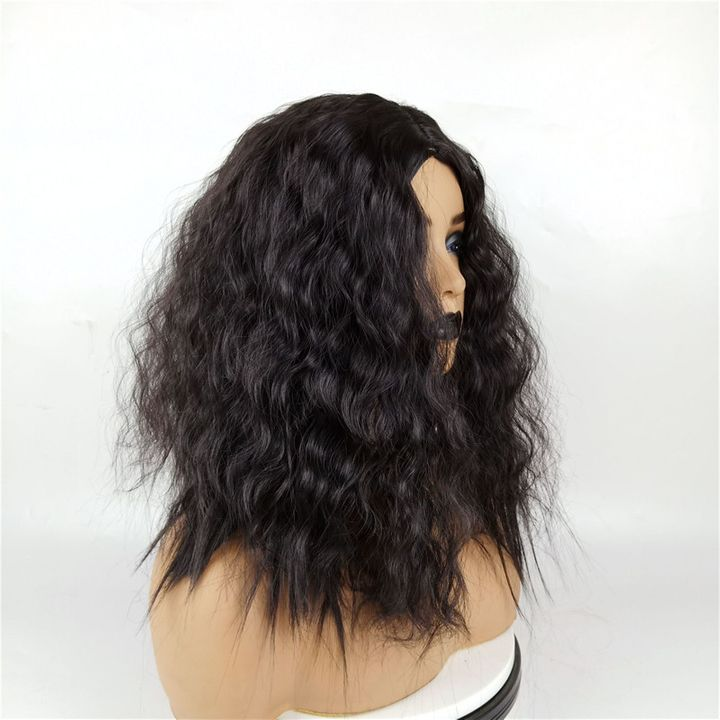 Wig Female Middle Bangs Short Curly  African Natural Synthetic Black Wigs For Ladies Women Weaves black as picture 16