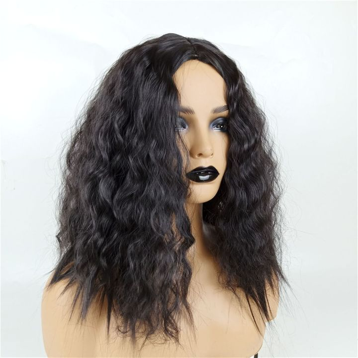 Wig Female Middle Bangs Short Curly  African Natural Synthetic Black Wigs For Ladies Women Weaves black as picture 14