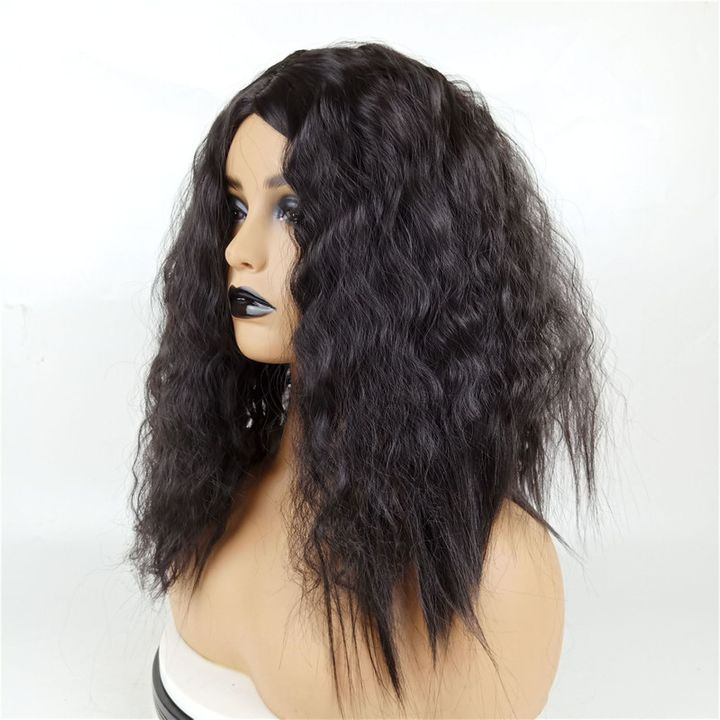 Wig Female Middle Bangs Short Curly  African Natural Synthetic Black Wigs For Ladies Women Weaves black as picture 15