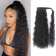 Fast Delivery1-5workdays Lady Gift Long Curly Black Hair Ponytail Wigs Extensions For Women 1B# black 24inch