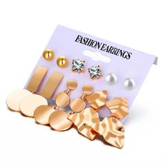 Fast Delivery1-5workdays Jewelry Lady 6 Pieces Set Earrings Stud Diamond Pearl Women Gold Earrings as picture normal