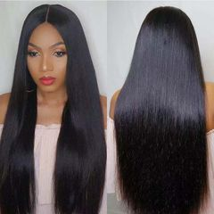 Fast Delivery1-5workdays Ladies Gift Long Straight Hair Weave Middle Part Black Wigs For Women Gift black as picture