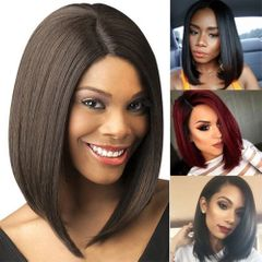 Fast Delivery1-5days Female Gift Party Event Ladies Straight Short Bob Weave Middle Wigs For Women black 35cm