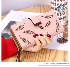 New Ladies Wallet Holow Leaves Wallet Wallet Zippered Long Card Case Handhold Pink
