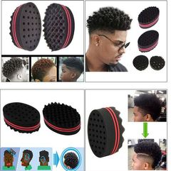 Barber Hair Brush Sponge For Dreads Twist Curl Oval Shape Barbershop Red normal(1pcs)