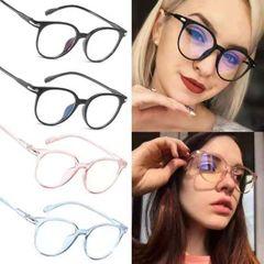 Men women flat mirror blue light headlamp glasses round frame eyeglasses Bright black