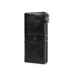 Unisex Long Wallet Zipper Pocket Genuine Leather Wallet Bifold Money  Zip Coin Pocket Fashion Purse black one size