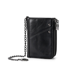 Natural Strong Genuine Leather Wallet with Metal Zipper Around with Chain Men's Bifold Wallet black one size