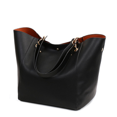 Handbag Women Soft Leather Tote Bag Handbag Lady Purse Big Capacity Shoulder Bag black one size