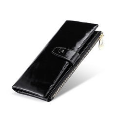 Women Genuine Leather Cowhide Clutch Wallet Bifold Credit Card Holder Long Purse black one size