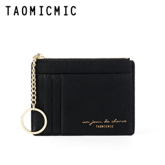 Small Wallets for Women Slim Pocket Wallet Lady Mini Purse  Short Wallet with Keychain black one size