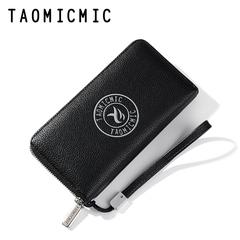 Men's Leather Clutch Bag Long Wallet Purse Zipper Card Holder Business Handbag black one size
