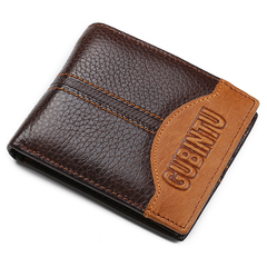 latest Men's Wallet, Men's Personality Stitching  Wallet Creative Genuine Leather Wallet Coin Purse coffee 1-words one size