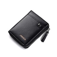 Men vintage Wallet Short Purse Slim Credit Card Holder Multi Cards Case Zipper Money Organizer black one size