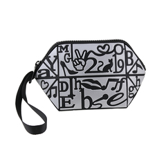 New 2019 fashion bag letter Geometric Purses Foldable Makeup Bag Wristlet Purse female bag black one size