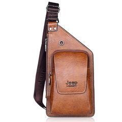 Men's Sling Bag Vintage PU Leather Chest Shoulder Backpack Crossbody Handbag Hiking Cycling Camping brown one size