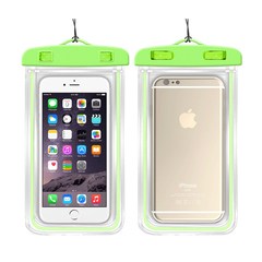 PVC Mobile Phone Waterproof Bag with noctilucence, Rafting Swimming Diving,Buy 10 pieces per order green one size