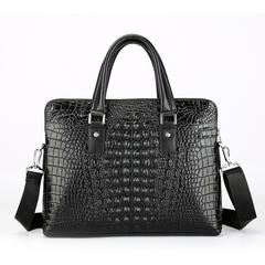 Luxury Genuine Leather Men's Bag Business Handbags Crocodile Cow Leather Men Briefcase14 black one size