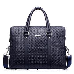 Genuine Leather Briefcases  Men 14 Inch Laptop Vintage Slim Business Shoulder Bag , wallet as gift blue one size