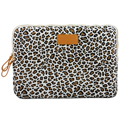 Canvas Fabric Sleeve for 11-15 Inch Laptops. Elephant,Bohemia and leopard print Patterns Leopard White 13inch