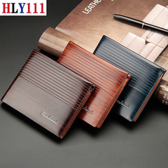 New style men's short wallet Valentine's Gift-High Quality wallet large capacity embossed wallet brown one size