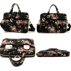 Canvas Fabric Ultraportable Neoprene Laptop Carrying Shoulder Messenger Bag Case Sleeve 12-15 inch Chinese Rose Black 13inch