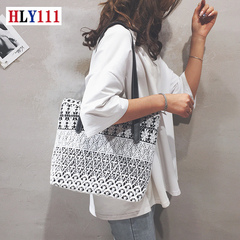New canvas bag 2019 casual lace girl bag with large capacity tote shoulder bag black one size