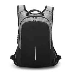High quality laptop backpack business travel Anti theft large capacity Backpack with USB  port gray one size