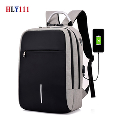 Unisex Backpack School Bag USB Port Password Headphone Hole Anti-theft Convenient Design backpack gray one size