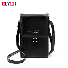 Minimalist Women Leather Crossbody Bag Cell Phone Purse Holder Vintage Wallet Shoulder Pouch black one size