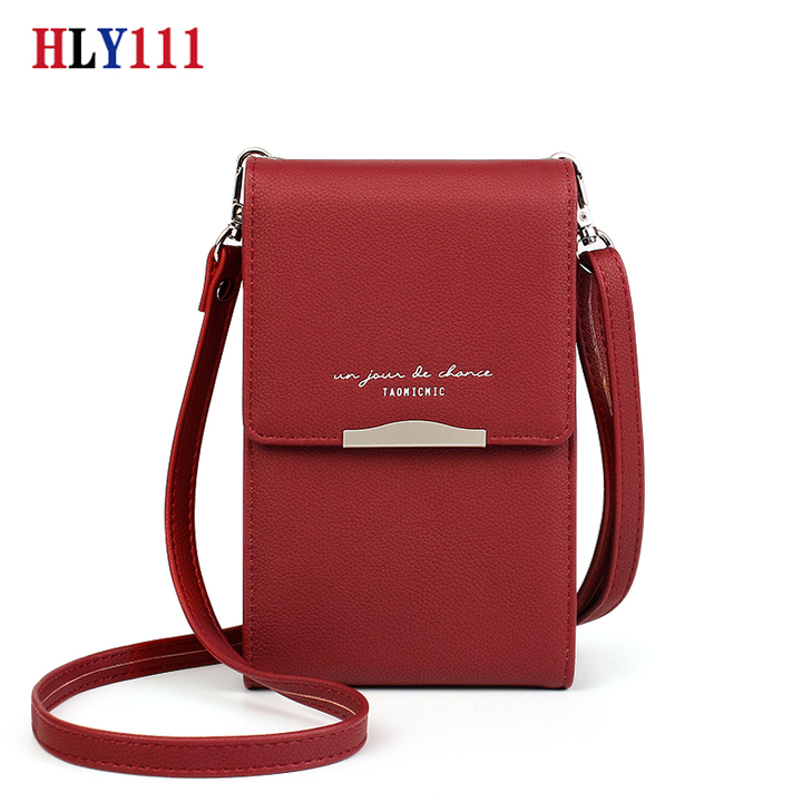 High Quality Mobile Phone Mini Wallet PU Leather Shoulder Bag Waterproof Smart  Phone Lady bag red wine one size