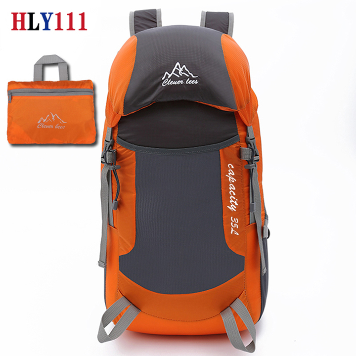 Folding Bag Ultra Light Bag Travel Backpack Outdoor Backpack Mountaineering Bag Light Portable orange one size