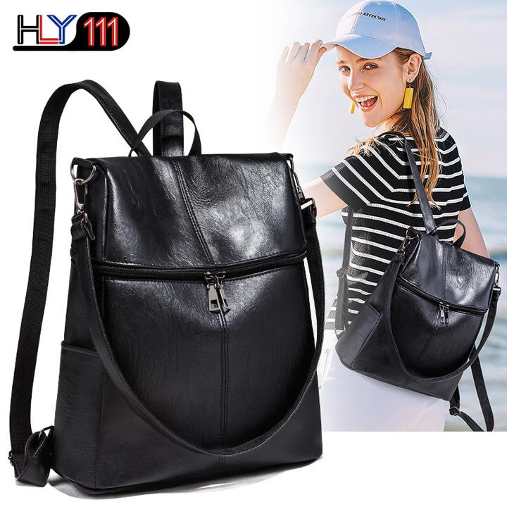 Women Backpack Purse PU Leather Ladies Rucksack Shoulder Bag Casual Shoulder Bag Fashion Satchel Bag black one size