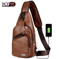 Men's Sling Shoulder Bag PU Leather Outdoor Chest Bag with USB Port Casual Shoulder Bag Satchel Back brown one size