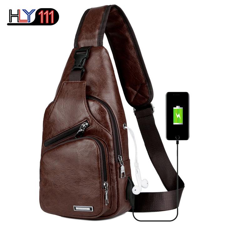 Men's Sling Shoulder Bag PU Leather Outdoor Chest Bag with USB Port Casual Shoulder Bag Satchel Back dark coffee one size