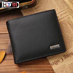 Men Wallets Short Genuine Leather Trifold Wallet Money Clips Credit Card Holder Slim Mens Purse black one size