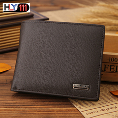 Men Wallets Short Genuine Leather Trifold Wallet Money Clips Credit Card Holder Slim Mens Purse coffee one size