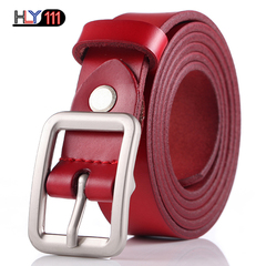 Fashion Trendy Ladies Belt Candy Sweet Needle Button Attractive Genuine Leather Belt for Women Red