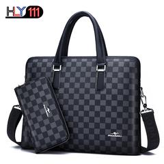 Newest handbag Men Microfiber Leather Briefcase Laptop Handbag Computer Bag,wallet as gift black one size