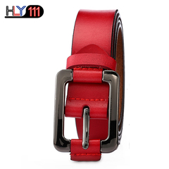 Retro Lady's Leather Belt  Youth Leisure Women's Needle-buckle Belt with Fine Waist Decoration red