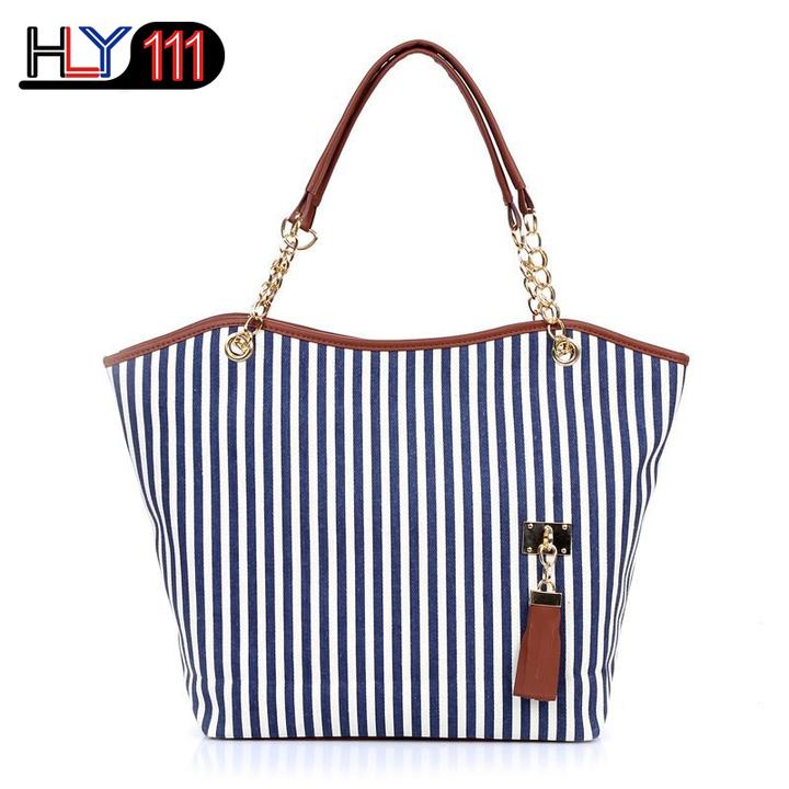 New striped tassel canvas bag, Kenya fashion women's bag large capacity shoulder bag casual handbag Blue White Stripe one size