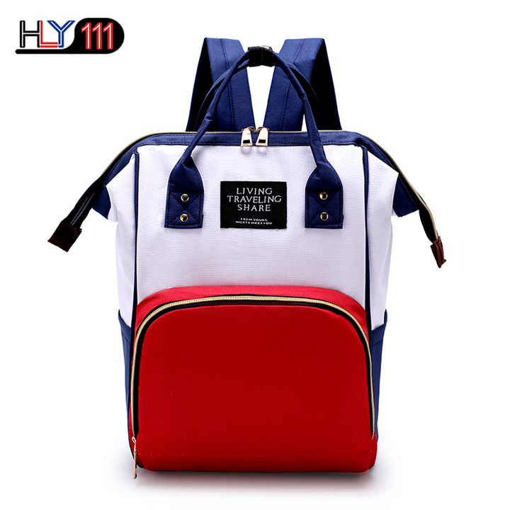 Baby Diaper Bag Backpack Multi-Function Waterproof Maternity Nappy Bags for Mom Dad Large Capacity White-red-blue one size
