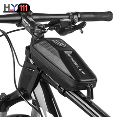 Bike Frame Bag, Waterproof Bicycle Front Bag, PU+EVA Hard Shell Double Zipper Front Tube Bag black one size
