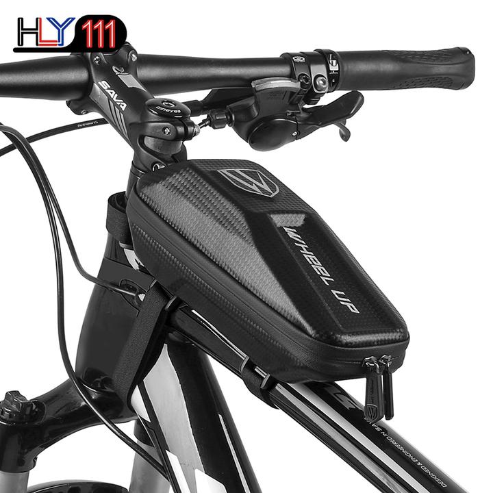 Bike Frame Bag, Waterproof Bicycle Front Bag, PU+EVA Hard Shell Double Zipper Front Tube Bag black one size