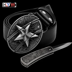 Men's cowhide personality belt ,with knife smoothly buckle self-defense belt knife fashion buckle Star one size