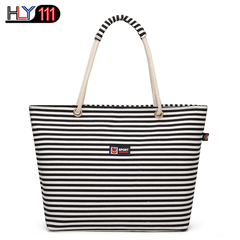 latest shoulder bag Chinese style striped casual Women handbag simple large capacity shopping bag black one size